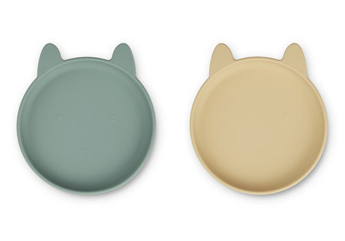 Liewood Olivia plate - 2 pack Rabbit peppermint wheat yellow mix