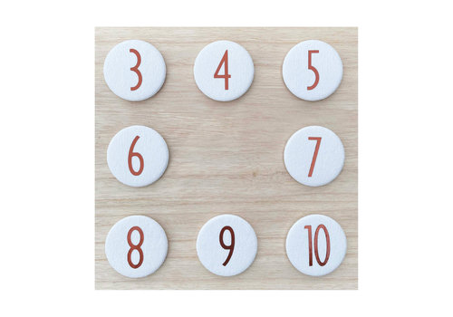 Liezelijn Set van 4 cijferbuttons (3-4-5-6) koper