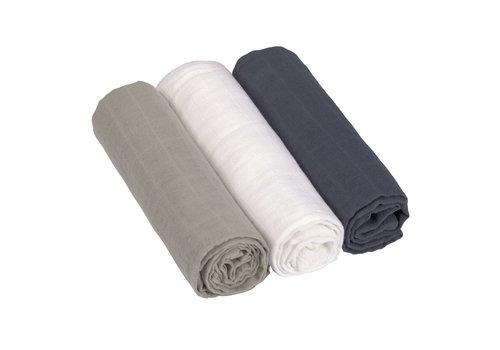Lässig Swaddle & burp blanket L 3 pcs assorted Olive/milky/navy