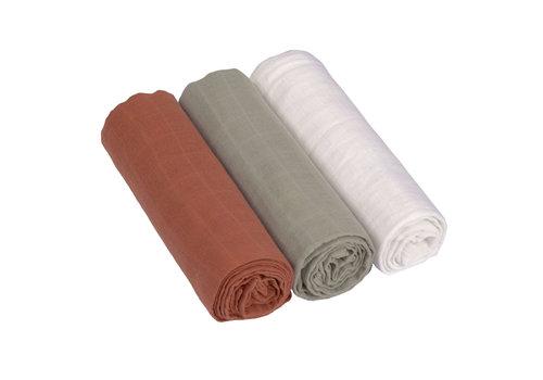 Lässig Swaddle & burp blanket L 3 pcs assorted Rust/olive/milky