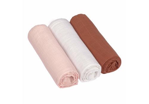 Lässig Swaddle & burp Tetradoeken L 3ST powder pink/milky/rust