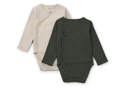 Liewood Hali body stocking LS 2-pack Hunter green/sandy mix
