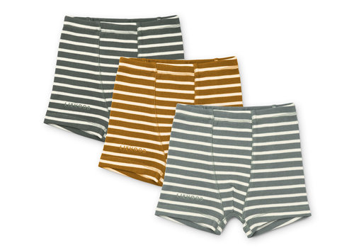 Liewood Felix boxers 3-pack Stripe Blue fog multi mix