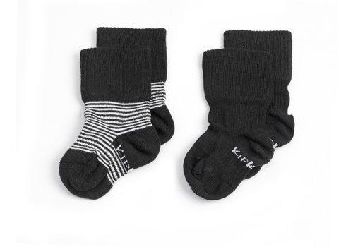 KipKep Stay-on-socks Zwart-wit gestreept 2st