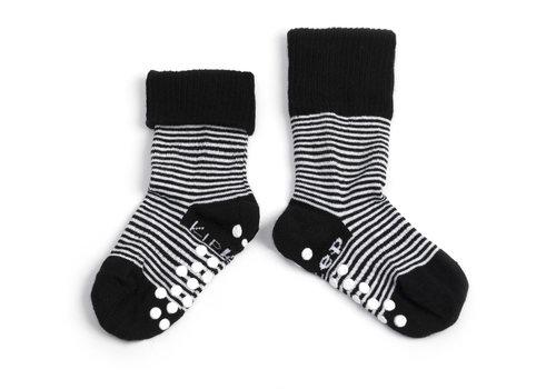 KipKep Anti-slip Stay-on-socks Zwart-wit gestreept
