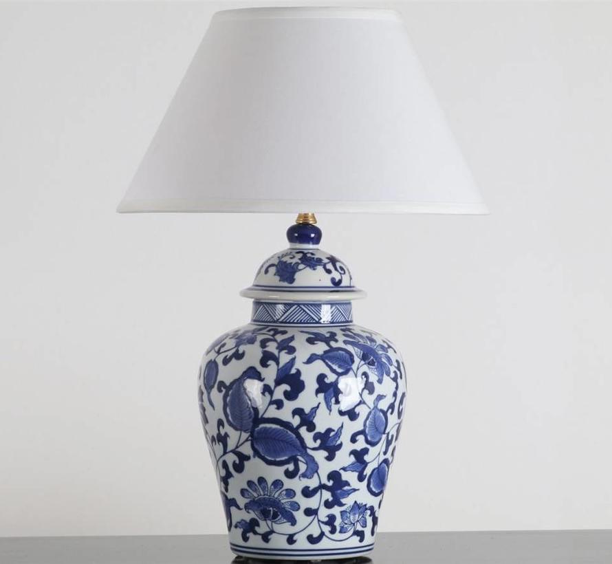 Chinesische Vasenleuchte mit Blumenmotiven (Blaumalerei)
