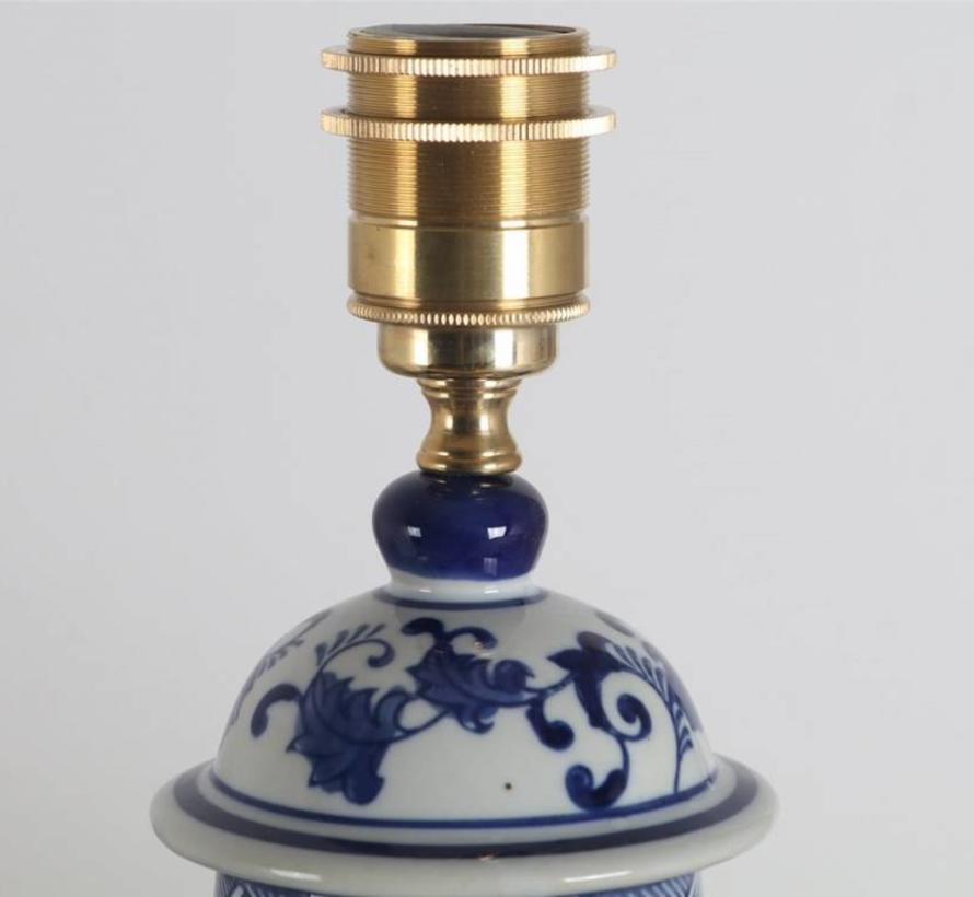 Chinese Vase Lamp with Floral Motifs / (Blue Painting)