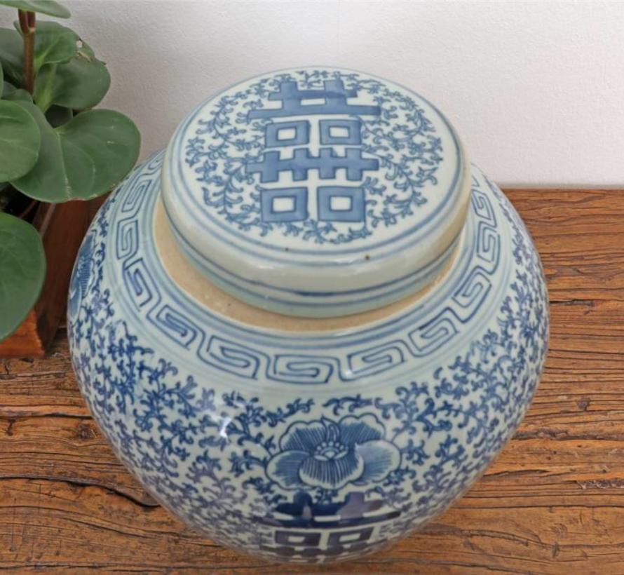 Porzellan Deckelvase mit Blaumalerei glasiert, Motiv Doppelglück