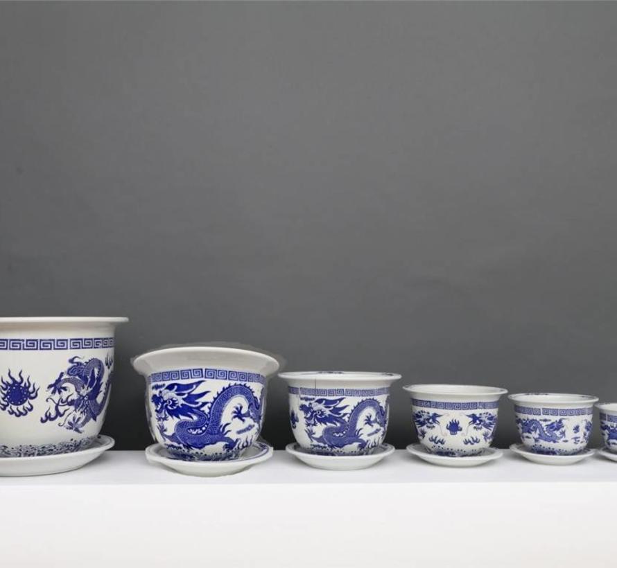 China Porzellan Blumentopf Blau-Weiß mit Drachenmotiv Ø 17cm