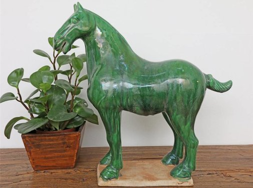 Yajutang Tang horse terracotta dark green