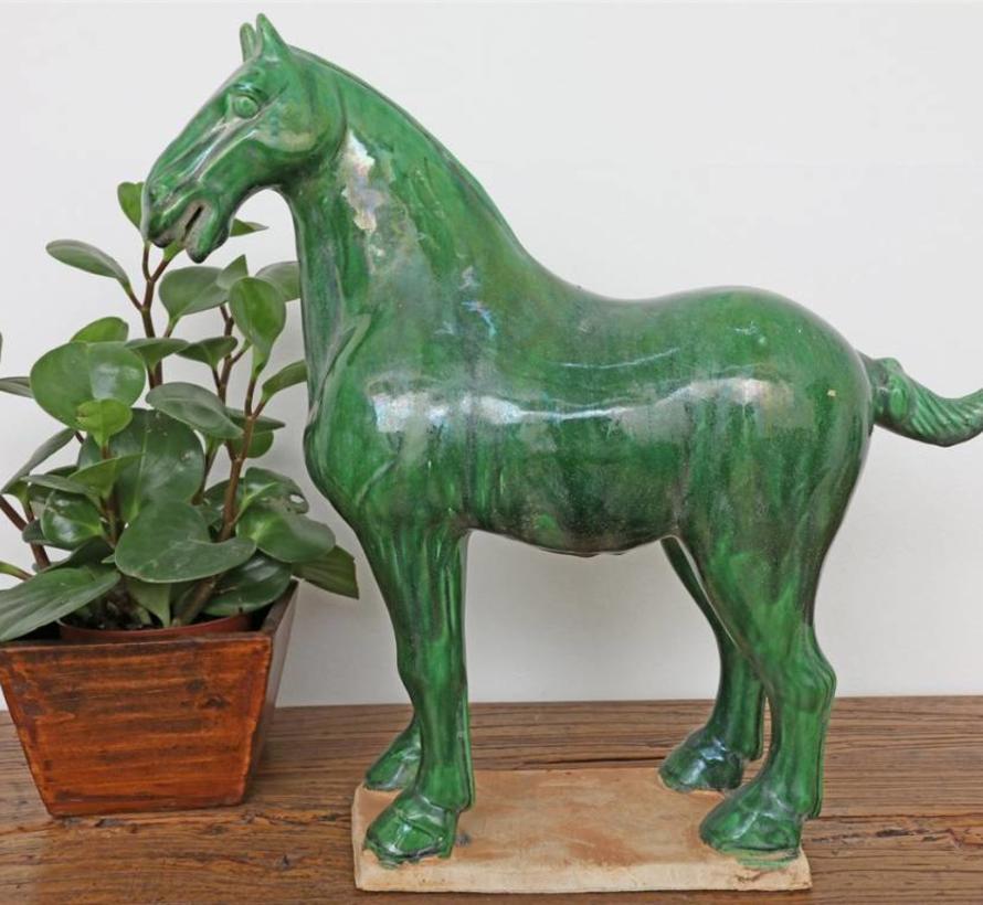 Tang-Pferd Terrakotta Feng Shui Symbol Ausdauer Sieg dunkelgrün