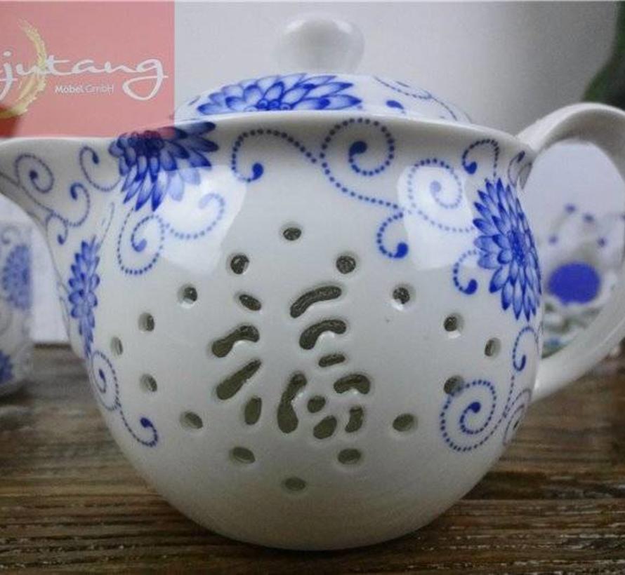 Chinesisches Tee-Set in Reiskorn Optik mit Blaumalerei