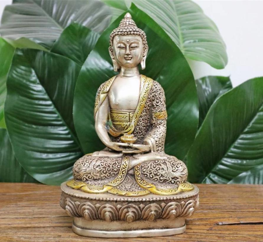 Amitabha Medizin Buddha aus Tibet, silber. Shakyamuni Dhyana Mudra