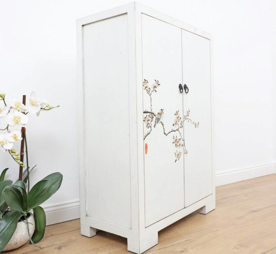Shoe cabinet modern look hand-painted pattern in cream white