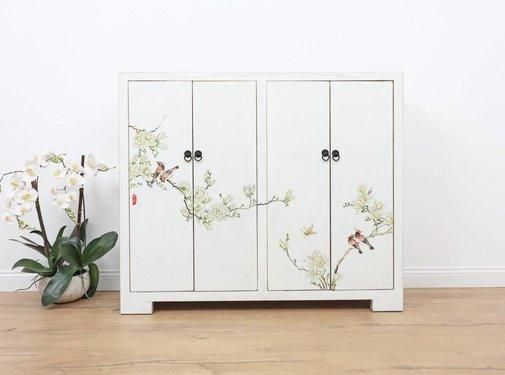 Yajutang Shoe cabinet hand-painted pattern  white
