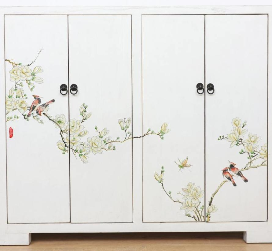 Shoe cabinet modern look hand-painted pattern in white