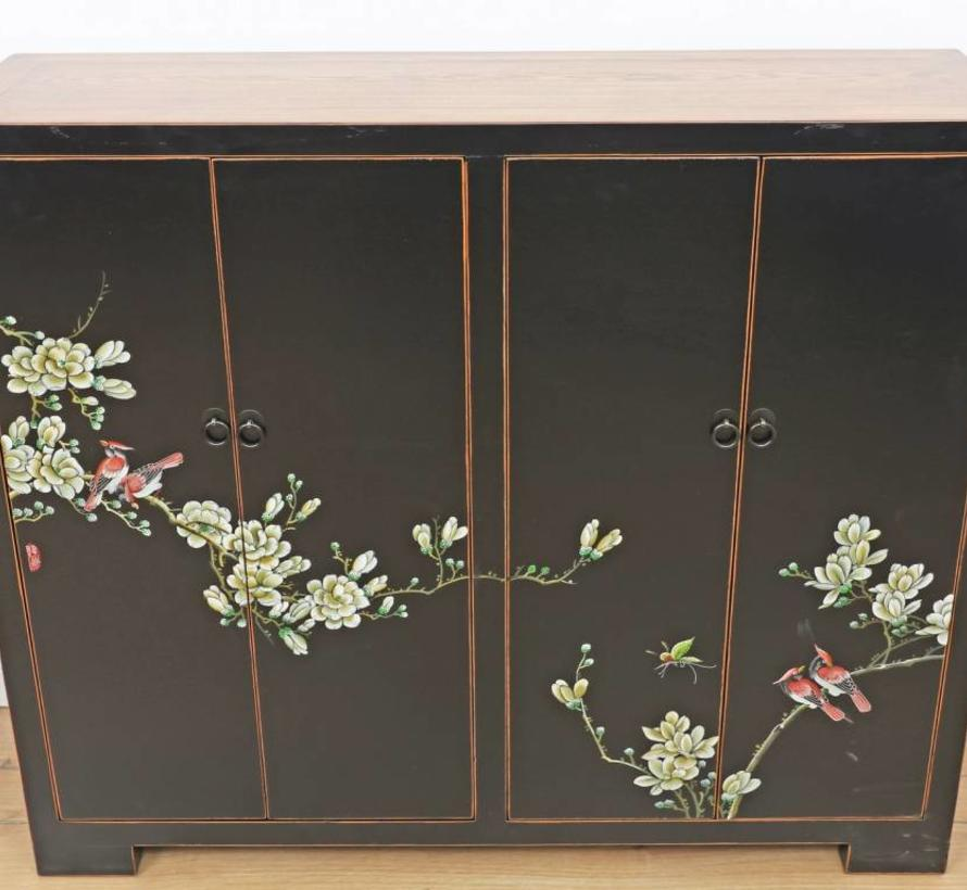 Shoe cabinet hand-painted pattern in black with four doors