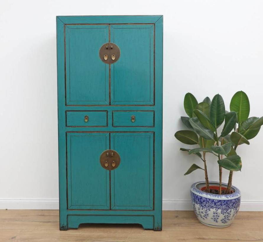Chinese cabinet four doors Solid wood turquoise