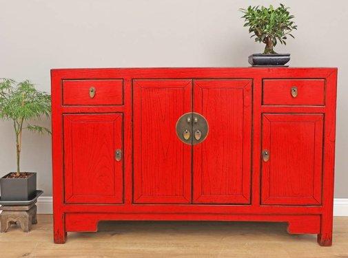 Yajutang Antikes Sideboard Kommode 4 Türen rot