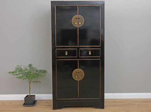 Yajutang Chinese wedding cupboard 4 doors black