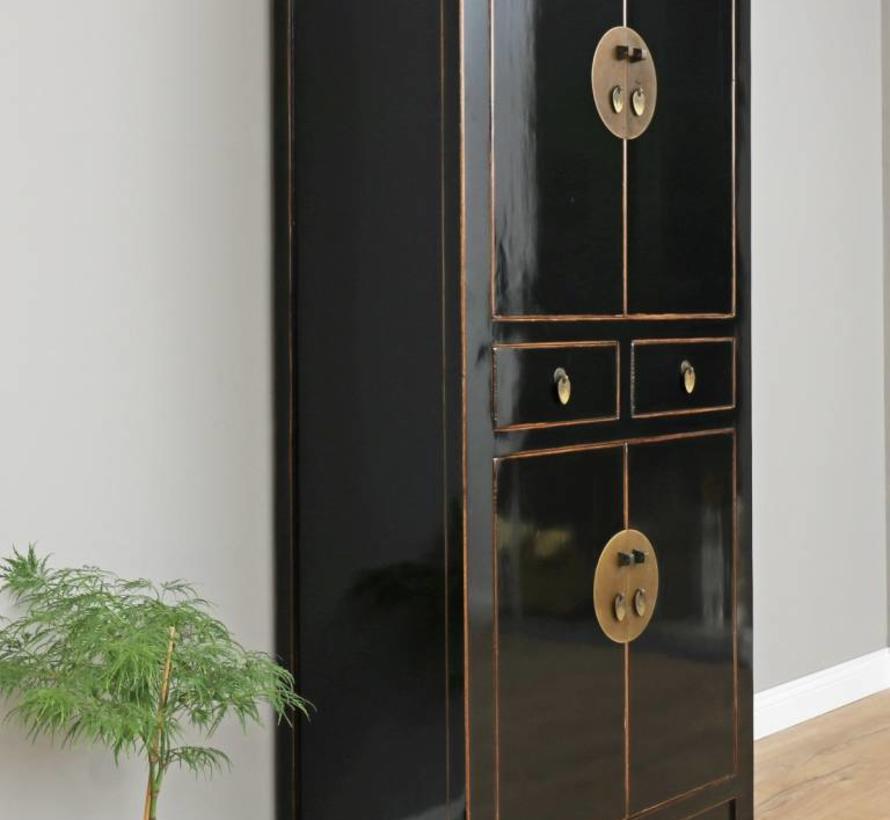 Chinese wedding cabinet solid wood black 4 doors
