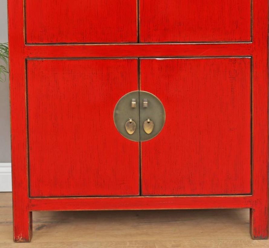 Chinesische Kommode Hochzeitschrank Schrank Massivholz rot