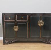 Yajutang Antikes Sideboard 4 Türen 2 Schubladen schwarz