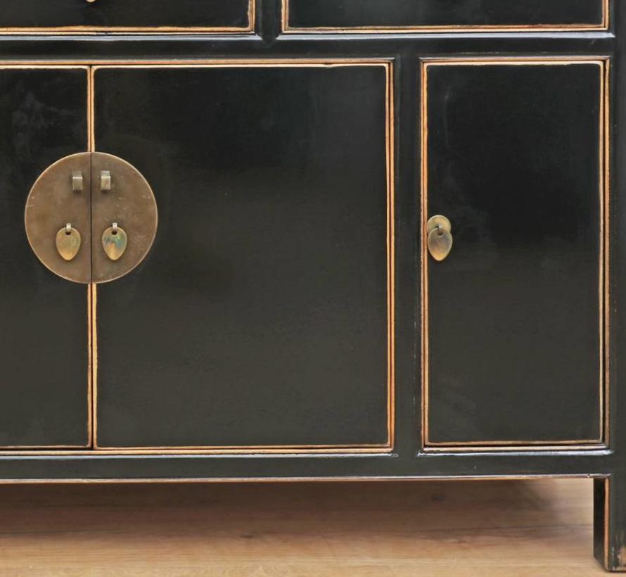 chinesisches Sideboard Fernsehtisch Kommode 4 Türen 3 Schubladen schwarz