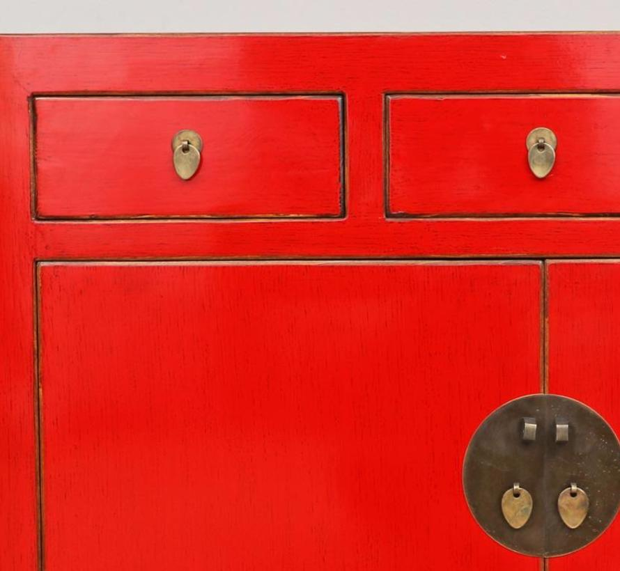 Chinese dresser cabinet solid wood 2 doors 3 drawers red