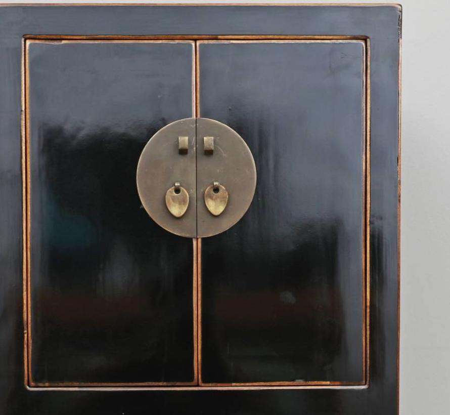 Chinesische Kommode Schrank Massivholz 4 Türen schwarz
