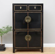 Yajutang Chinese Wedding Cabinet 4 Doors 2 Drawers Black