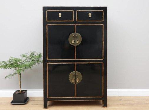 Yajutang Chinese Wedding Cabinet 4 Doors 2 Drawers Black