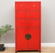 Yajutang Chinese chest of drawers 4 drawers 2 doors red