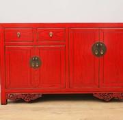 Yajutang Antikes Sideboard 4 Türen 2 Schubladen rot