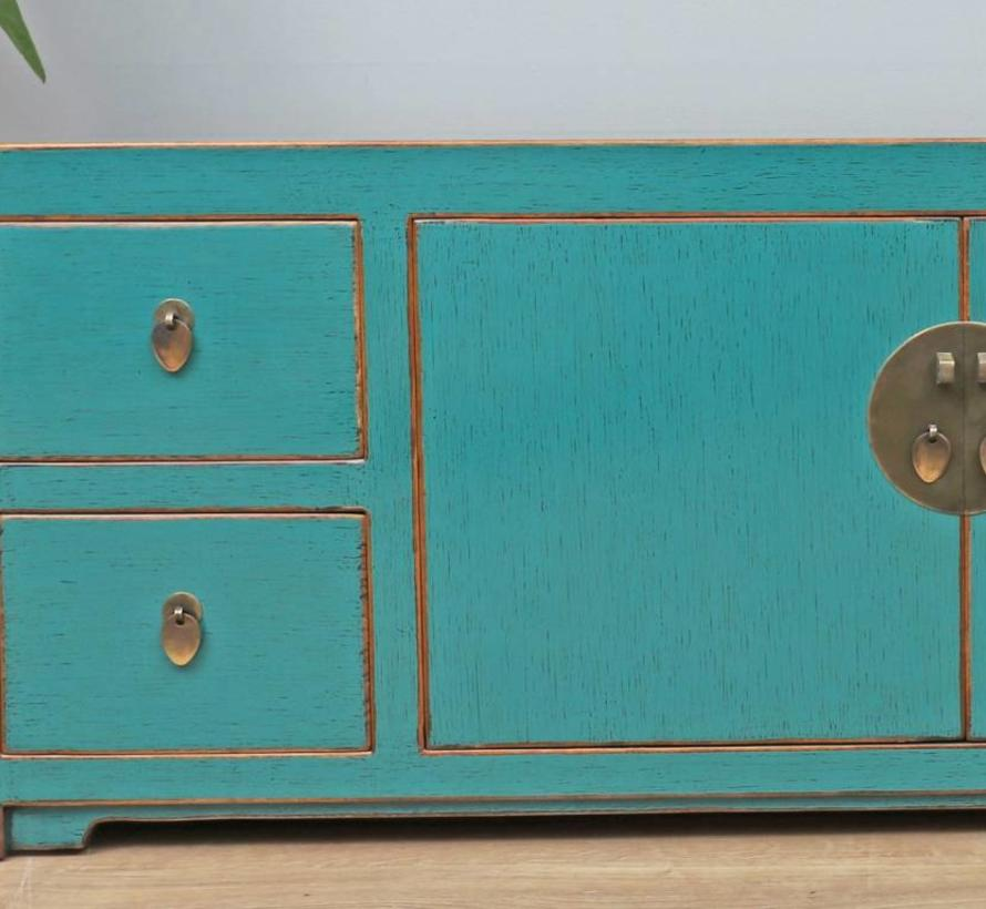 Chinese dresser sideboard 2 doors 4 drawers turquoise