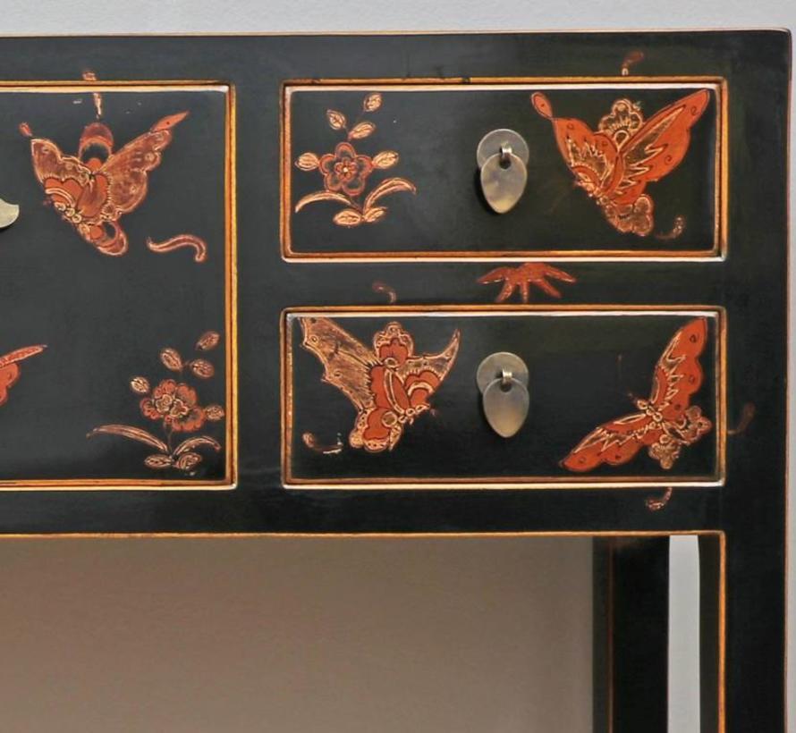 Sideboard Fernsehtisch 2 Türen 4 Schubladen bemalt schwarz