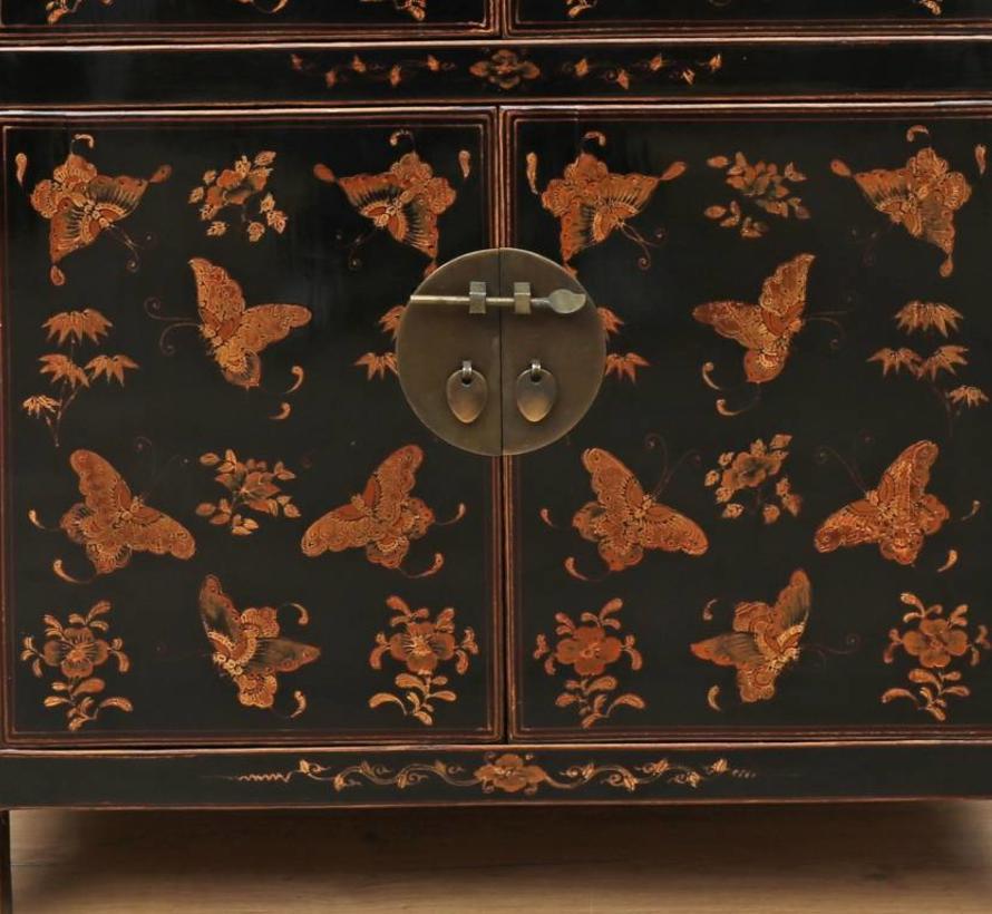 chinesische Kommode  2 Schublade 4 Türen bemalt schwarz