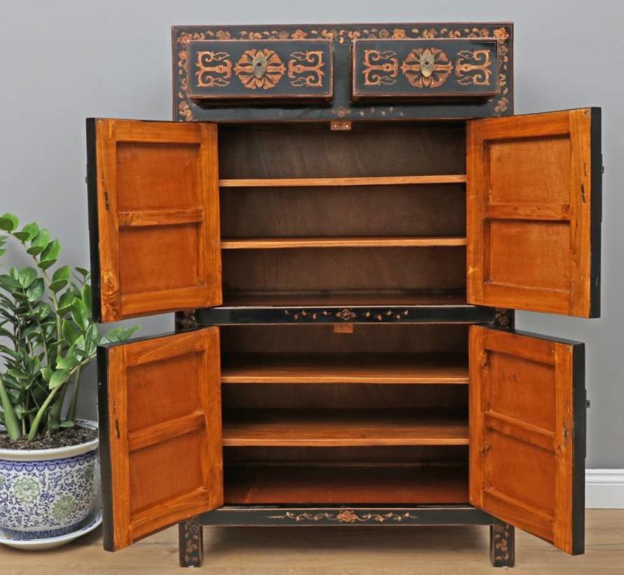 Chinese  sideboard 2 drawer 4 doors painted black