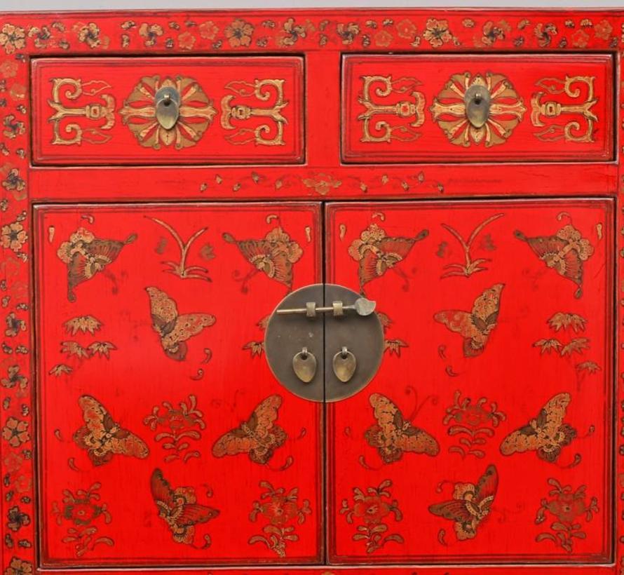 chinesische Kommode Sideboard 2 Schublade 4 Türen bemalt rot