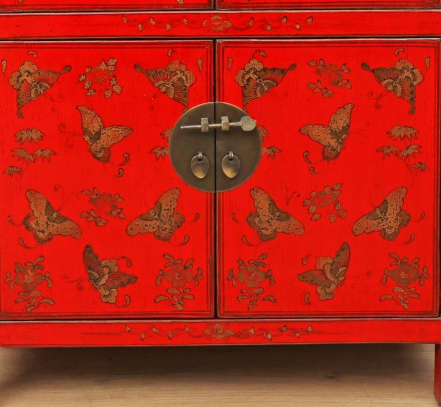 Chinese dresser sideboard 2 drawer 4 doors painted red