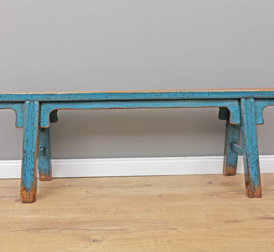 Antiker chinesischer Sitzbank Antiquität Holzbank blau