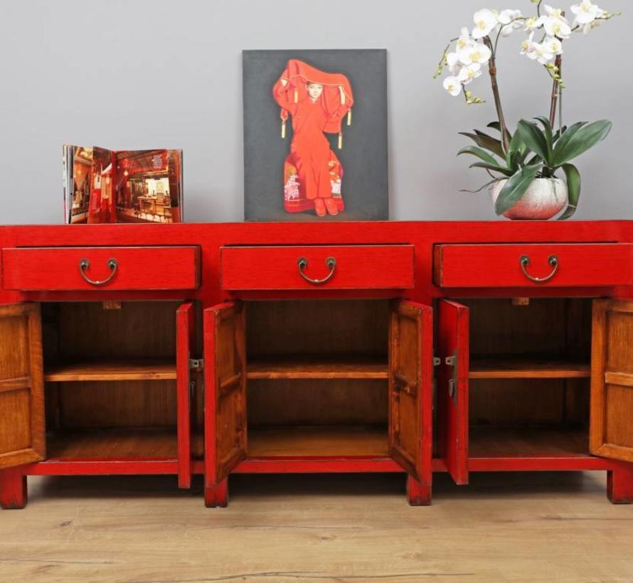 Chinese dresser sideboard 6 doors 3 drawers red