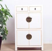 Yajutang Chinesischer Hochzeitschrank 4 Türen 2 Schubladen weiß