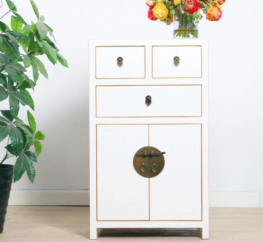 chinesische Kommode Sideboard 3 Schubladen 2 Türen weiß