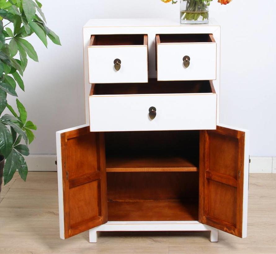Chinese dresser sideboard 3 drawers 2 doors white