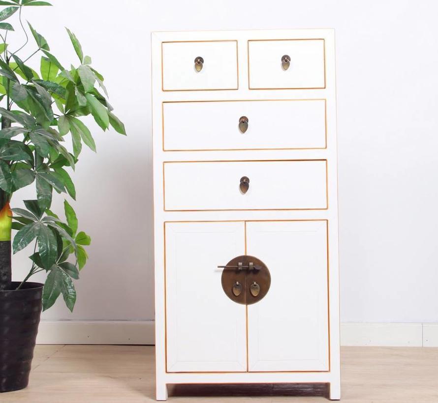 chinesische Kommode Sideboard 4 Schubladen 2 Türen weiß