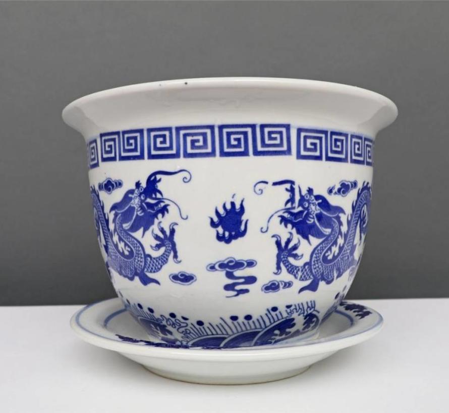 China Porcelain Flowerpot Blue-White with Dragon Motif Ø 20cm