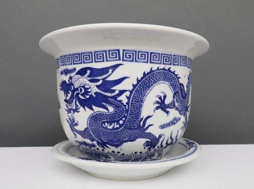 Yajutang Blumentopf Blau-Weiß & Drachenmotiv Ø24