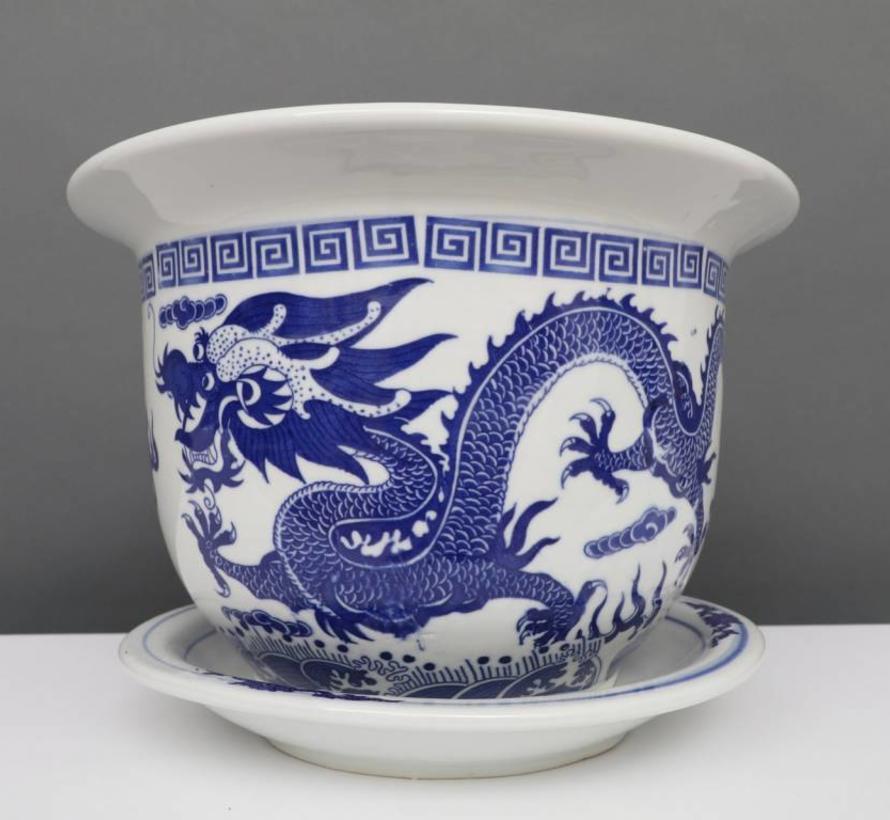 China Porzellan Blumentopf Blau-Weiß mit Drachenmotiv Ø 24cm