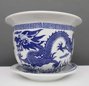 Yajutang Flowerpot Blue-White & Dragon Motif Ø28